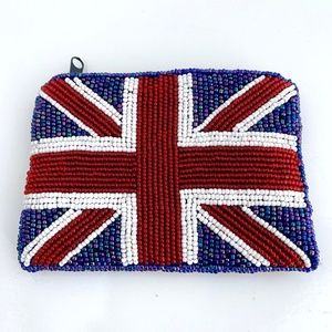 Vintage Union Jack Beaded Zip Top Coin Purse
